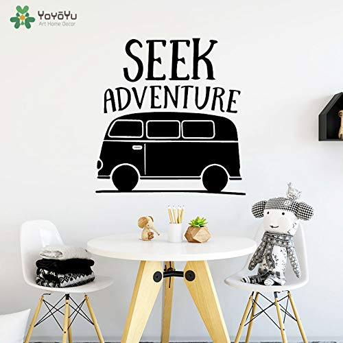 zhuziji Wall Decal Bus Decor for Kids Rooms Vinyl Wall Stickers Quotes Seek Adventure Removable Waterproof Nursery Mura 86x90cm