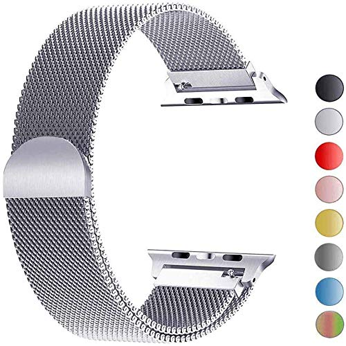 VIKATech Replacement Strap Compatible with Apple Watch Strap 40mm 38mm, Stainless Steel Replacement Bracelet Strap for iWatch Series 5/4/3/2/1 Silver