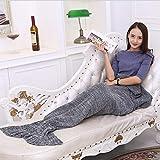 XILIUHU Handgefertigte wirft Mermaid Decke gestrickt Schlafen Wickeln Fernseher Sofa Mermaid Schwanz Decke Kinder Erwachsene gehäkelte Tasche Betten 90 * 180 cm, 5,90 X 50 cm, 170 G