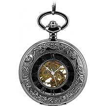 Infinite U Pantalla Dual Unisex Colgante Collar Cuerda Manual Reloj de Bolsillo Mecánico Negro