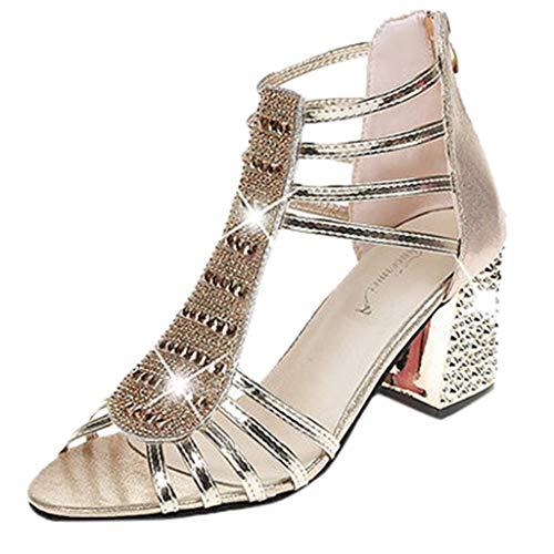 a85345434c458 HLIYY Sandales Femmes Mode Bout Rond Boucle Sandales Talons Hauts Sandals  Compensé Plateforme Été Escarpin Sandale