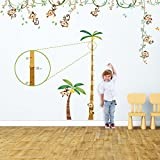 Decowall DA-1507P1607 Monkey on Vine & Height Chart Peel and Stick Nursery Kids Wall Decals Stickers