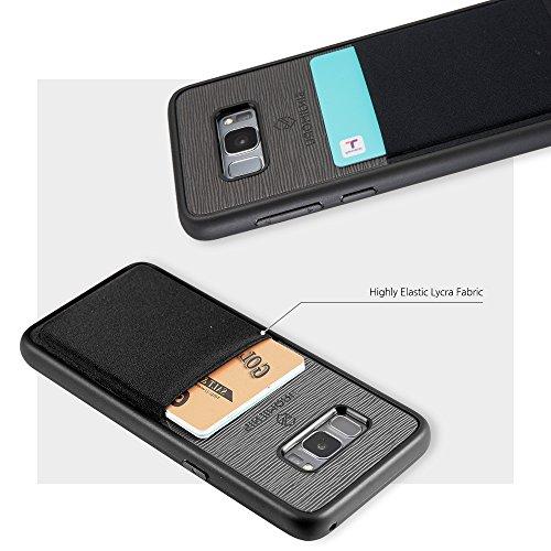 Galaxy S8 Plus Handyhülle mit Kartenfach, Sinjimoru S8 Plus dünnes TPU Case mit Kartenhülle / S8 Plus Wallet Case / S8 Plus Bumper mit aufklebbarem Kartenhalter. Sinji Pouch Case für Samsung Galaxy S8 Braun