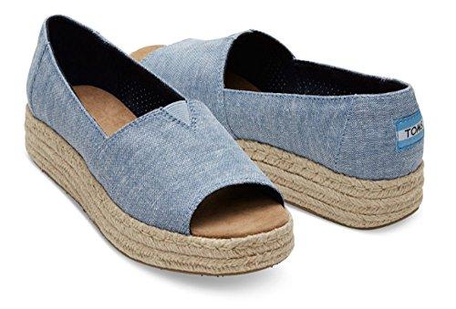 Open Toe Platform Alparga Espadrilles bl Größe: 39 Farbe: blue-slub-