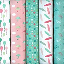Textiles français Stoffpak - Set de telas - 5 telas (colores pastel, rosa, verde y blanco) - Colección FIESTA DE LA PRIMAVERA (pequeños diseños) | 100% algodón | cada pieza 35 cm x 50 cm