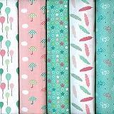 Textiles français Stoffpak - Stoffpaket (Kollektion Frühlingsfest - Pastellfarben - rosa, grün & weiß) | 5 Stoffe | 100% Baumwolle | jedes Stück 35 cm x 50 cm