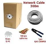 MutecPower Cable de Red ethernet Cat5E - con Herramienta de crimpado - UTP - CCA - Gris - 300 Metros