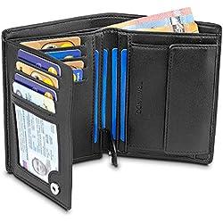 """TRAVANDO ® Porte Monnaie Homme Portefeuille """"Chicago"""" avec Blocage RFID - Porte-Monnaie Noir Classique, Porte-Cartes Format Portrait - Rangement pour Pièces, Carte de Crédit, Billets, CB (Noir)"""
