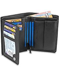 TRAVANDO ® Geldbeutel Männer Chicago - Extra Geräumig - 13 Kartenfächer - TÜV geprüft - Hochformat - RFID Schutz - Geschenk für Männer - mit Geschenk Box - Designed in Germany