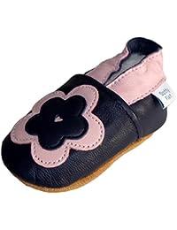 Chaussures de bébé en cuir souple de fleur rose et marine, Dotty Fish filles
