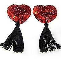 super sexy nipple tassels red sequin burlesque dancer
