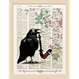 Kunstdrucke, schwarze Krähe, vogel, Herz auf Antike Buchseite,#VO01