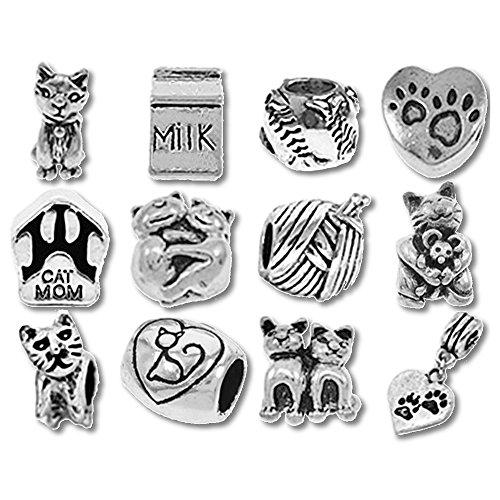 TimeLine Trinketts plata envejecida cuentas de pulsera compatible con Pandora joyería espaciadores–diseño de gato