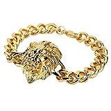 Kangqifen Schmuck Damen Herren Löwenkopf Armband,Edelstahl Hip Hop Armschmuck Gold / Silber,Breite 12 mm - Länge 24 cm(Gold)