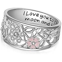 MOMEY Bandas de las mujeres Flores de cerezo simples Te aman a la Luna y al Anillo de Alfabeto Volver Anillo de Plata Elegante Regalo de Joyería de Boda