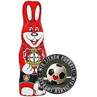 Bayer 04 Leverkusen Schokoladen Osterhase, Schokohase 150 g - Plus Aufkleber Wir lieben Fussball