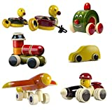 CeeJay Toys Colorful Wooden Cars and Baby Toy with Wheels - Set of