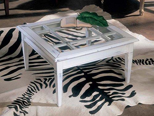 Legno&Design Table carrée avec Grille et Plateau en Verre. Construction entièrement Artisanale