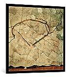 kunst für alle Bild mit Bilder-Rahmen: Egon Schiele Herbstbaum in bewegter Luft - dekorativer Kunstdruck, hochwertig gerahmt, 100x100 cm, Schwarz/Kante grau