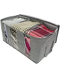 Foldable Bamboo Charcoal Non-Woven Portable Storage Box Sweater Blanket Wardrobe Closet Organizer Storage Bag Box (Multi Color)