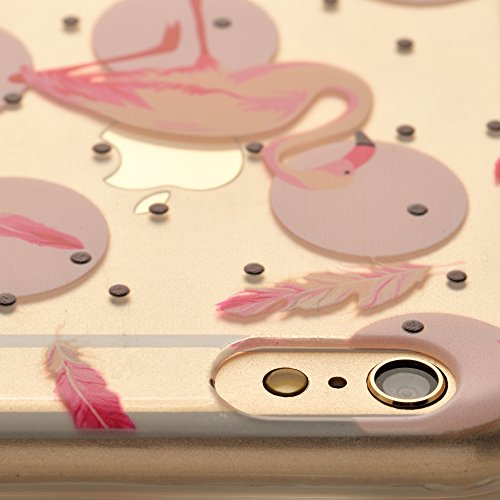 iProtect Apple iPhone 6, 6s TPU Softcase Schutzhülle kleine Flamingo-Parade Pink auf Weiß Flamingo Federkleid