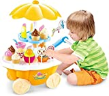 #2: Techhark Ice Cream Kitchen Play Cart Kitchen Set Toy with Lights and Music sweet shop for kids (Yellow Mini)