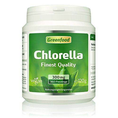Chlorella, 300 mg, Finest Quality, 360 Presslinge - reich an Chlorophyll, wertvollen Vitaminen, Mineralien und Spurenelementen. Ohne künstliche Zusätze, vegan.