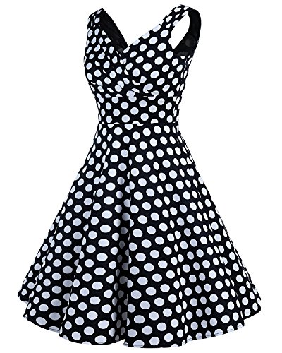 Bridesmay Damen Vintage 50S Retro Partykleid Rockabilly Knielang Cocktailkleid Black White Dot