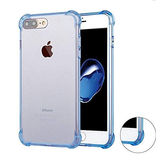 Preisvergleich Produktbild Roreikes Schutzhülle für iPhone 7 Plus Hülle (5.5 Zoll),  Crystal Ultra Clear TPU flexible transparent [Stoßdämpfung ] [Anti-Scratch] Bumper Schutzhülle für Apple iPhone 7 Plus (5.5 Zoll) - Blau