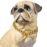 PROSTEEL Hundehalsband Starke Edelstahl Kette 19MM Kragen Panzerkette Trainings Kragen Halskette für Hund Gold Haustier Hals Seil, Länge 46cm
