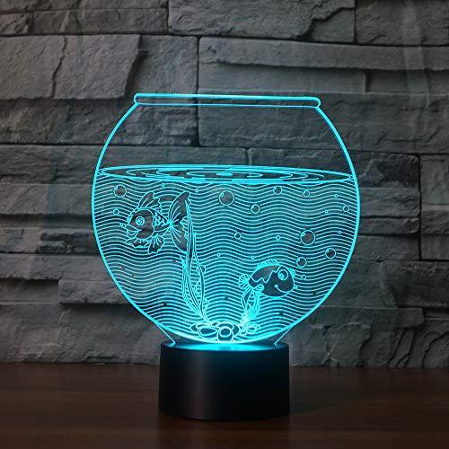 Aquarium 3D Lampe 7 Farben Led Nachtlicht 3D Licht Fisch Schüssel Tischlampe Dekoration Nachtlicht Batteriebetrieben
