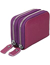 Jzlgbh Genuine Leather Rfid Blocking Spacious Zipper Card Wallet Small Coin Purse - Womens Cards Holder Wallet... - B0717273L5
