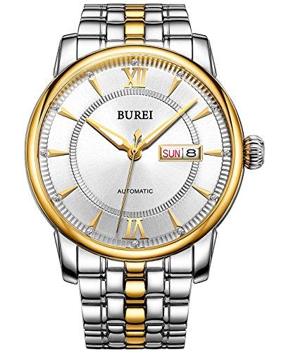 BUREI® Herren Uhr Mechanische Automatik Armbanduhr Wasserdicht Uhr Lederband -Live und ideale Geschenke für Weihnachten und Neujahr Verkauf