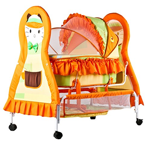 Baybee Baby Cat Multipurpose Swing Cradle cum Bassinet with Detachable Carry Cot (Orange)
