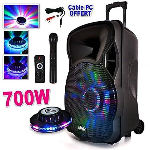 Vente Mobile - Enceinte Mobile Batterie PARTYLIGHT12-LED 700W 12