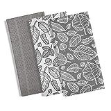 Juego de 3trapos de cocina, 100% algodón, con diseño moderno de hojas impreso, absorbentes, 3unidades