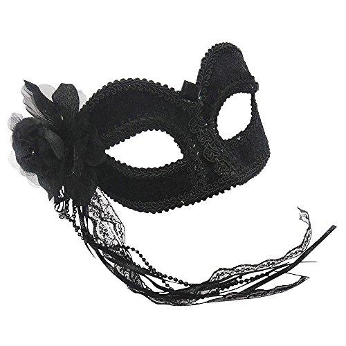 Bristol Novelty EM686 Augenmaske aus Samt, Schwarz, Damen, (Maskerade Fancy Dress Ideen)