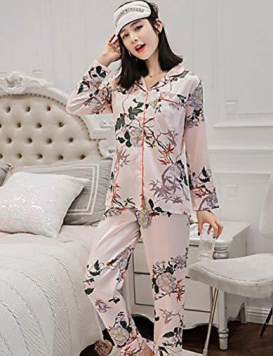 Floral Square-neck (Home + pajamas Frauen Silk Square Neck Suits Pyjamas - PrintFloral @ Blushing_Pink_L)