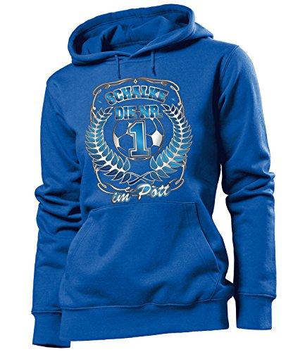 love-all-my-shirts Schalke die Nr 1 im Pott 4628 Fussball Frauen Damen Hoodie Pulli Kapuzen Pullover Fan Artikel Geburtstags Geschenk Partner Trikot Lock Blau XL