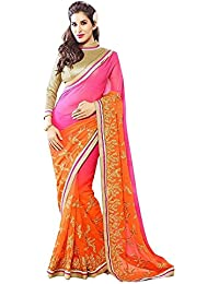 Tiana Creation Pink and Orange padding Embroidered Saree with Blouse piece