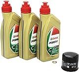 Castrol 4055029018532 Número 1 Cambio de aceite Castrol Power 1 juego 10W / 40 de aceite del motor del filtro de aceite HiFlo anillo de sellado de cobre para la Suzuki GSX-R 750 adecuado para el año 2006-2013. (Modelo: CF1111, CF2111, CW1111, CW2111,