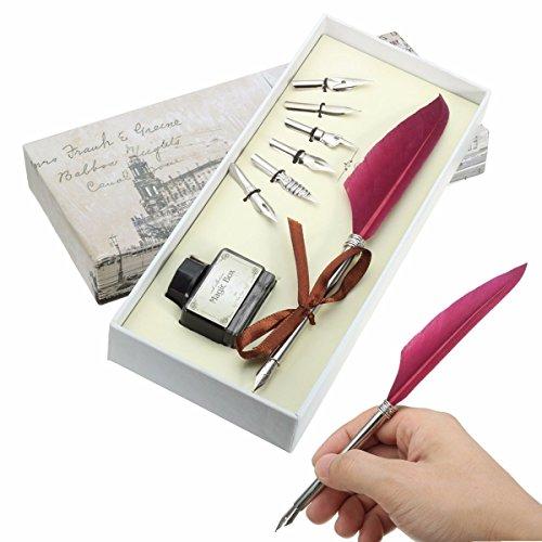 Tutoy Vintage Gans Feder Federkiel Metall Nibs Dip Schreiben Schwarze Tinte Set Geschenk Mit Box