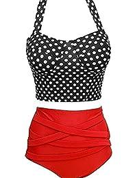 Ninimour Damen Hohe Taille Retro Badeanzug Bademode Push up Bikini Set