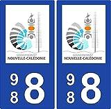 2 Stickers plaque d'immatriculation auto 988 Nouvelle-Calédonie - Gouvernement...