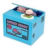 Caja de dinero con cerdo - Diseño azul 'Piggy Bank' - Caja de dinero eléctrica Gadget como Idea de regalo - Grinscard