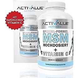 MSM Spezial-Formel von Dr.med. Wagner - Hochdosiert 1200mg - verstärkt durch NATÜRLICHES Vitamin C - 100% vegan