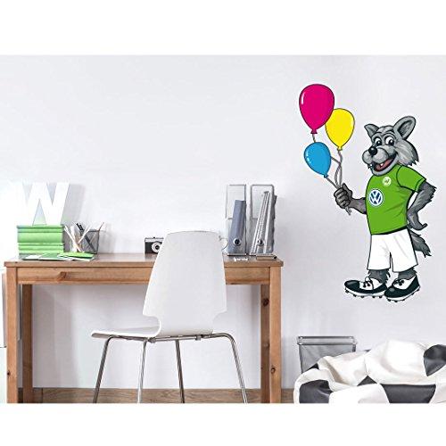 """VfL Wolfsburg Wandtattoo """" Maskottchen Wölfi mit Luftballons"""" ca. 40 x 65 cm Wanddeko Kinderzimmer Fan Edition"""