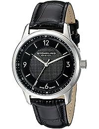 Stührling Original 572.02 - Reloj analógico para hombre, correa de cuero, color negro