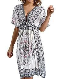 Avacoo Damen Strandkleider V Ausschnitt Blumen Sommerkleid Midi Kleid Pareos Marokko