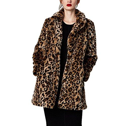 Comeon neu Damen Sexy modern Herbst Winter slimm fit Leopard-Druck Kunstpelz Pelz Parke Outwear Mantel (M, Braun) (Fell Reverskragen-mantel)